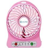 3 Gear Speed Pink Mini Portable USB/Li-ion Battery Rechargeable Powered Palm Leaf Fan