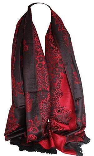 Bullahshah Floral umrahmten zwei zweiseitig Reversible Print Pashmina weichem Wrap Schal Scarf Hijab Kopf Schals (Schwarz Rot) -