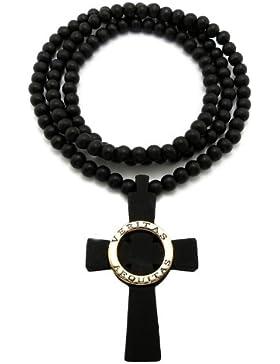Schwarz/Gold Anschein Holz Veritas Aequitas Kreuz Anhänger mit 8mm 91cm Kugel Halskette