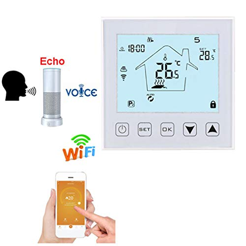QAIYXM WiFi Thermostat, Elektrische Heizung LCD Smart Google Voice Temperaturregler Thermostat für Fußbodenheizung Home Thermostat Telefon APP