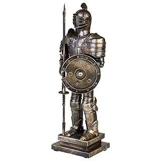 aubaho Ritter mit Lanze Schild Modell Skulptur Figur Metall Rüstung Antik-Stil - 47cm