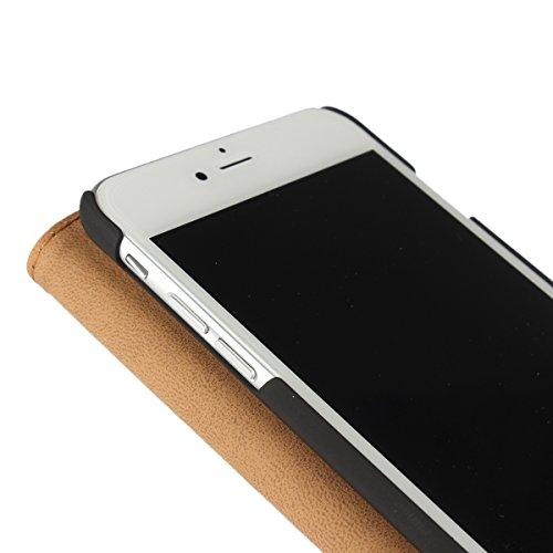 """MOONCASE iPhone 7 Étui, Vintage Housse en PU Cuir à rabat Coque de Protection Folio PC Case avec Porte-cartes Fentes Fermeture Magnétique pour iPhone 7 (4.7"""") Orange Rouge"""