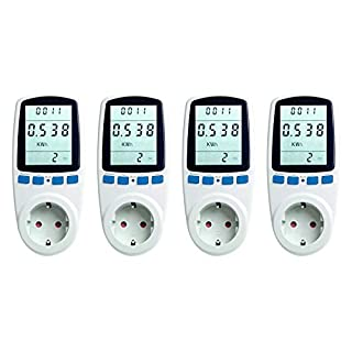 Asigo 4er Set Energiekosten-Messgerät | Stromtarif Einstellbar | Energiekostenmessgerät | Stromverbrauchszähler | Deutscher Hersteller