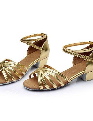 ShangYi Chaussures de danse ( Noir / Marron / Argent / Or / Léopard / Autre ) - Non Personnalisables - Talon Plat - Satin / Similicuir -Latine / Silver