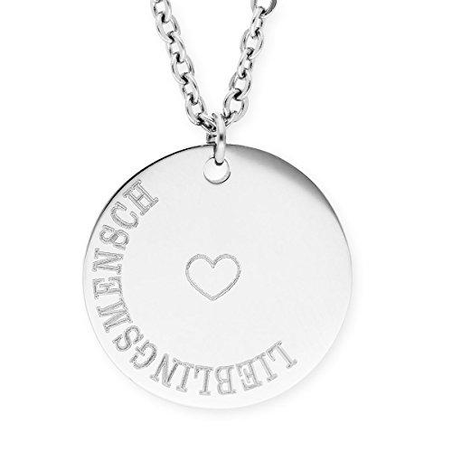 URBANHELDEN - Damen-Kette mit rundem Motiv Anhänger - Hals Kette Amulett - Edelstahl - Gravur Herz Lieblingsmensch Silber