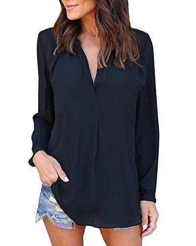 Auxo Damen Langarm Shirts V-Ausschnitt Slim Blusen Basic Oberteil Tops Tunika Business Schwarz EU 44-46/Etikettgröße XL