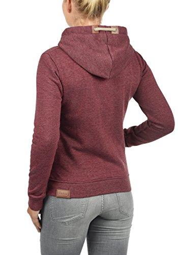 DESIRES Vicky Zip-Hood Damen Sweatjacke Kapuzenjacke Hoodie Mit Kapuze Fleece-Innenseite Und Cross-Over-Kragen, Größe:XS, Farbe:Wine Red Melange (8985) - 3