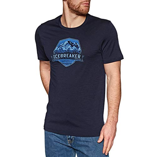 Icebreaker Herren Mens Tech Lite SS Crewe Cook Crest T-Shirt, Midnight Navy, L - Herren Icebreaker