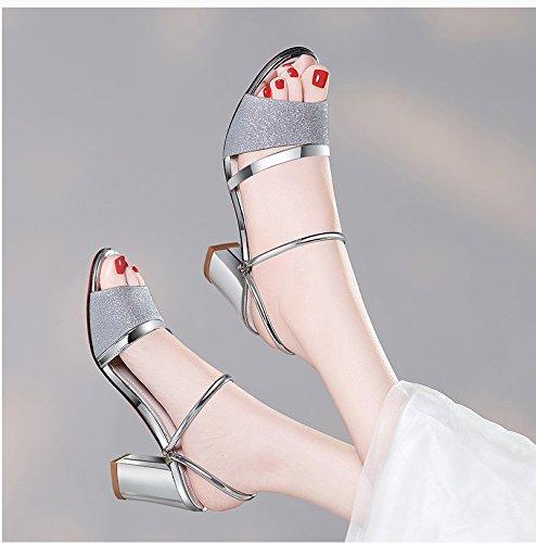 XY&GKDamen Sandale Highheels Sommer grob Toe All-Match koreanischen Strass Sandalen tragen In zwei Frau 40 Silver