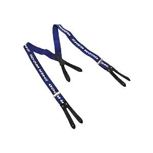 SHER-WOOD – Junior Pro Hosenträger mit Lederlaschen I Hosenträger für Eishockeyhosen I Skihosen I ideal zum Skifahren & Schlittschuhfahren I Kinder Hosenträger für Schneehosen – Blau / Leder