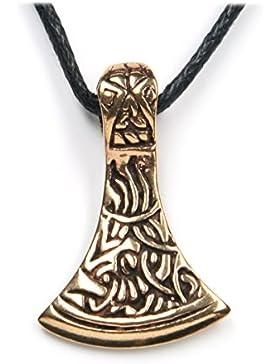 Sachsenaxt Schmuck Anhänger Bronze, Länge mit Öse: 2,5cm, inkl. Band Thor Hammer