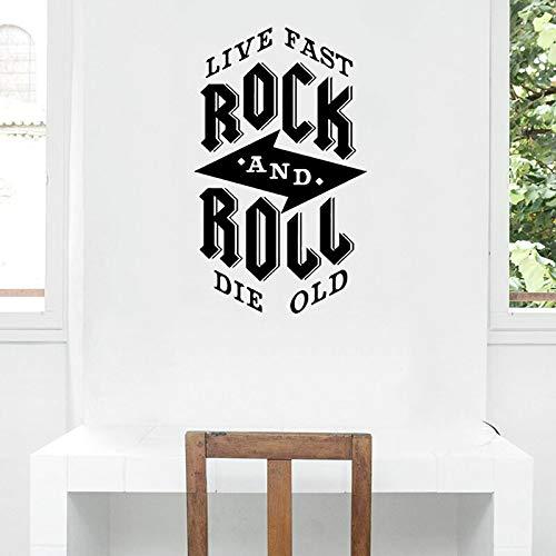 Rock and Roll Zitat Aufkleber Wandaufkleber Musik Geschenk Moderne Kinderzimmer Leben Schnell Sterben Alte Innenfenster Wohnkultur 42x69 cm