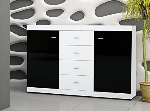 Wohnwand Anbauwand 6446 weiß / schwarz Hochglanz inkl. LED Beleuchtung - 3