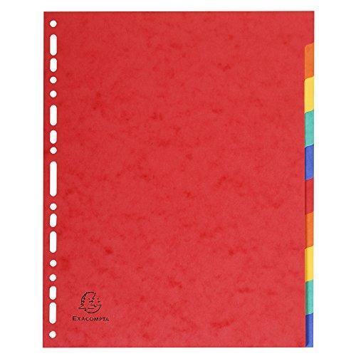 Exacompta 2610E Register (Packung mit 10 farbigen Taben, Blanco, DIN A4 Maxi, Manila-Karton) 1 Stück
