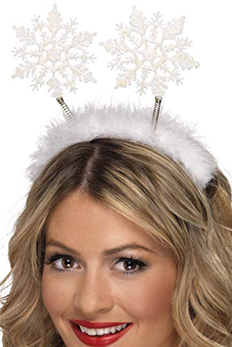 Kostüm Winter - Smiffys Damen Schneeflocken Haarreif, One Size, Weiß, 24790