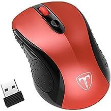 TopElek Ratón Inalámbrico de 2,4 GHz con Receptor Nano USB, Ratón Wireless con 6 botones(Óptico, 5 Niveles 2400 DPI, ambidiestro) para Microsoft, Windows7 / 8/10 / XP, Vista7 / 8, Mac y Linux