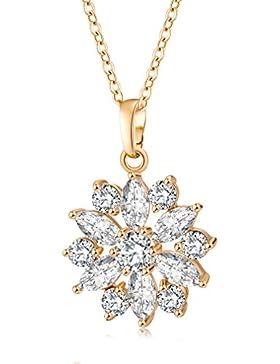 YAZIlIND Jewelry Schmuck gold vergoldet Kristall elegante Damen Halskette mit Anhänger Blumen blüte 45cm