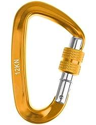 12KN Mousqueton à Vis Aluminium Forme D Crochet Boucle de Blocage pour Alpinisme Escalade Sac Hamac