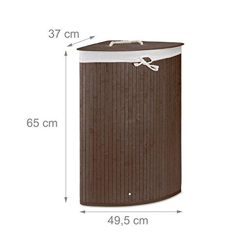 2 x Eckwäschekorb im Set, Wäschetrennsystem aus Bambus, Wäschesammler mit herausnehmbarem Wäschesack, je 64 L, braun - 3