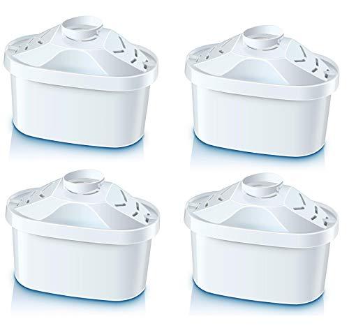 Cartuchos de filtro de agua – Compatible con tazas BRITA Maxtra® (no Maxtra+®), juego de 4 piezas también compatible con Mavea Maxtra, Elemaris, Marella, Aluna Cool, Fjord Cool Plus, Laica Bi-Flux