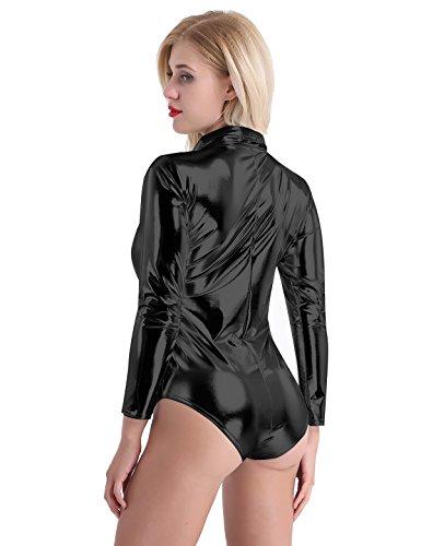 5c1dea848c42 Tiaobug Damen Body Hemd Shirt Body Wetlook Langarm Figurbetond Dehnbar  Glänzend Catsuit Bodysuit Overalls Jumpsuit mit