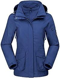 CAMEL CROWN Damen Ski 3-in-1-Jacke 2 Stück Outdoor Wasserdicht Winddicht Fleece Innen Kapuzenmantel