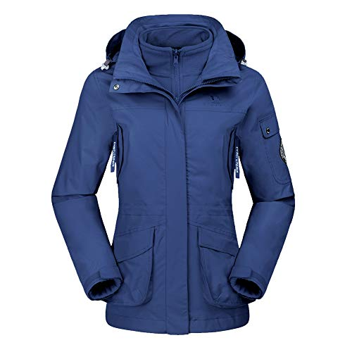 CAMEL CROWN Damen Ski 3-in-1-Jacke 2 Stück Outdoor Wasserdicht Winddicht Fleece Innen Kapuzenmantel (L, Dunkel Blau)