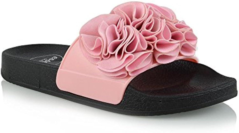 08f8009ecf7b ESSEX GLAM Womens Slip On Flat Rubber nhta-30222 Slider Shoes ...