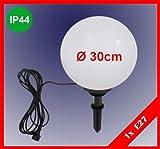Trango TG300B 30cm Gartenkugel Leuchte Kugelleuchte weiß IP65 230V - inkl. 1x E27 LED Leuchtmittel (Größe: 300mm)