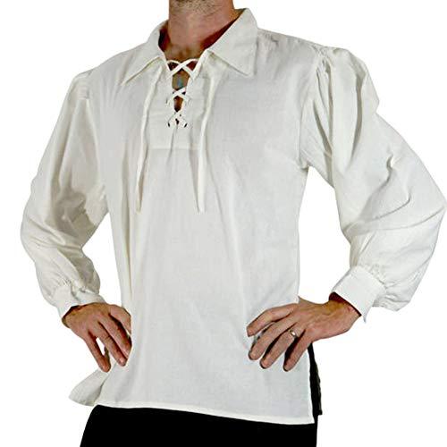 Camisa con Cordones Renacentista Medieval para Hombres Disfraz De Pirata Tunica Blanco XL