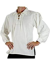 07dec84bfc Camisa con Cordones Renacentista Medieval para Hombres Disfraz De Pirata  Tunica Blanco XL