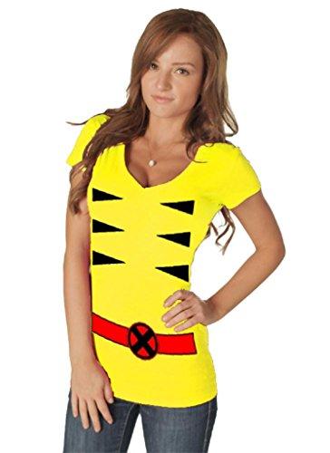 Frauen Wolverine Kostüm - Marvel X-men Wolverine V-neck Damen Gelb Kostüm T-shirt (Damen X-Large)