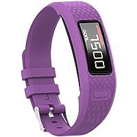 para Garmin Vivofit 1 Vivofit 2 Banda, Prevently Solid Color Smart Watch Deporte Silicona Correa de Pulsera Hebilla para Garmin Vivofit 1 Vivofit 2, Morado, Small