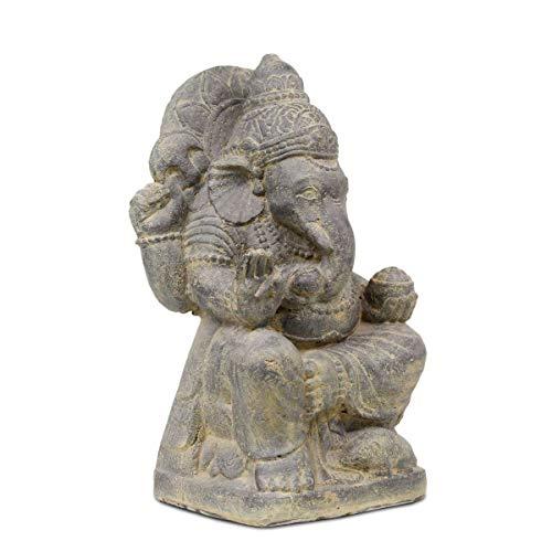 Oriental Galerie Ganesha Steinfigur Hinduismus Buddhismus Gott Götterbote Ganapati Geschenk Stein Lavasand 50cm