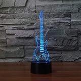 7 colores cambiantes lámpara de mesa 3D LED guitarra eléctrica instrumentos musicales luz nocturna USB dormitorio iluminación decoración del hogar música regalos