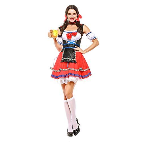 QQWE Bier Mädchen Kostüm, Frauen Oktoberfest Kostüm, deutsche National Style Kleidung, Tavern Maid Dress, Womens Kostüm,Red-XL (Deutsches Bier Lady Kostüm)