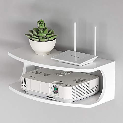 FEI Rack Wand Montiert WiFi Router Regal Set-top Box Halterung Kreative Aufbewahrungsbox Rack Doppel Schwimm Regal (Farbe : Weiß) (Doppel-wand-regale)