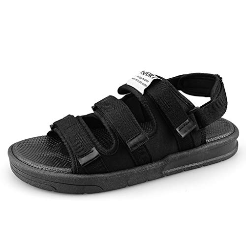 Henxizucun Mens Summer Sports Sandalen Open Toe Casual Wanderschuhe Athletic Beach Sandal Herren Einstellbare Touch Velcro Slippers,Black,48 Athletic-open-toe-sandalen