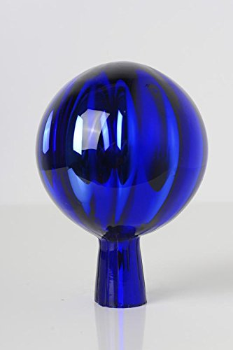 Rosenkugel aus Glas für den Garten - perfekte handgemachte Garten-Dekoration für Ihr Blumenbeetin vielen Farben, Formen und Größen, Hoche 12cm und Durchschnittlich 9cm, Blau