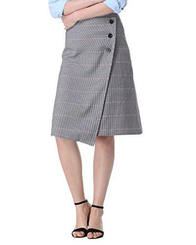 Kenancy SET de Vêtement Jupe Mi-longue à Carreaux Boutonnée + Haut en dentelle sexy top manche longue Pour Travil Affaire Bureau Gris