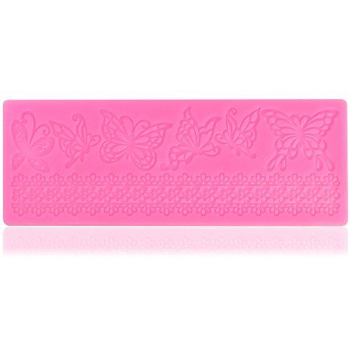 COM-FOUR® Silikonform Bordüre mit Schmetterling und Blumenmuster für Marzipan und Fondant - Tortendeko selbst gemacht (01 Stück - 2 Muster)