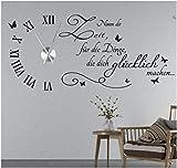 tjapalo® s-tku5 Wanduhr Wandtattoo Uhr Wohnzimmer Wandsticker Spruch - Nimm dir Zeit für die Dinge die dich Glücklich machen mit Uhrwerk (Metall)