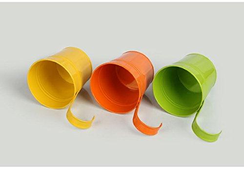 Galleria fotografica Vaso portafiori in metallo a forma di secchio da appendere, vaso da giardino senza foro di drenaggio, decorazione da balcone, gancio rimovibile (10pezzi con 10colori assortiti)