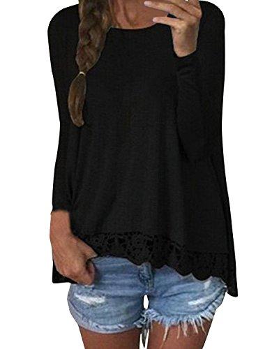 Zanzea Sexy Langarmshirt mit Spitze für Damen, casual, gehäkelt, Rundhals, einfarbig, für den Herbst Tops Schwarz - Schwarz