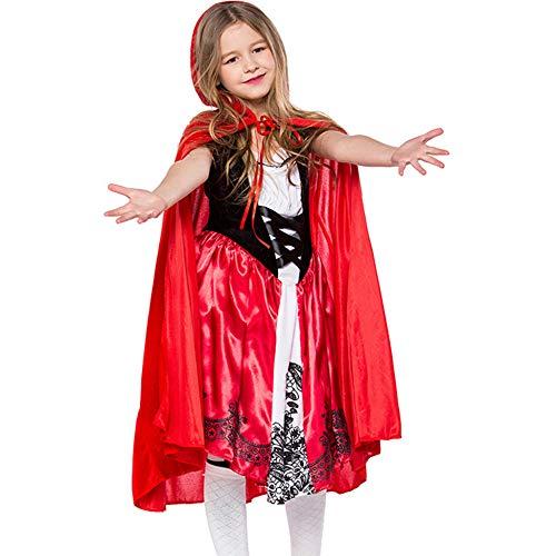 chen Weihnachtskostüm Prinzessin Mädchen Rote Elfen Kostüm Mini Kleid Kid Cosplay Kleidung, XL-(135-145CM) ()