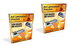 A4 Lamination Sheets Pouch 80 micron, 225x310mm, for Hot Laminator, 200 sheets