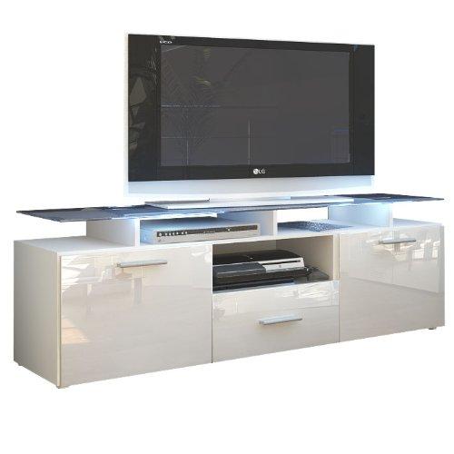 Meuble TV bas Almada, Corps en Blanc mat/Façades en Blanc en haute brillance