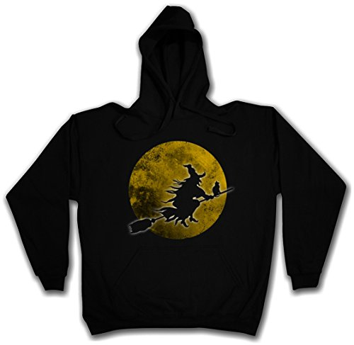 WITCH MOON HOODIE HOODED PULLOVER SWEATER SWEATSHIRT MAGLIONE FELPE CON CAPPUCCIO - Sizes S - 2XL Nero
