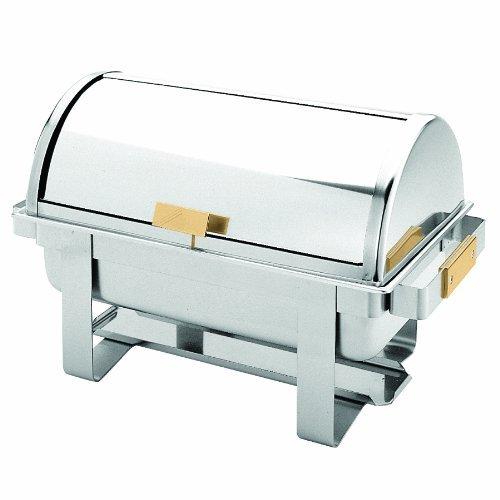 Excellanté Stainless Steel 8 Quart Roll Top / Golden Handle Chafer by Excellanté Roll Top Chafer