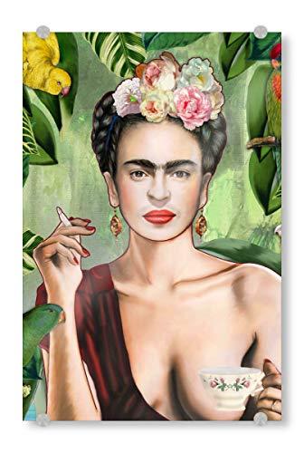 artboxONE Acrylglasbild 90x60 cm Glasbild Menschen Frida Con Amigos - Bild Frida Kahlo Dschungel Frida